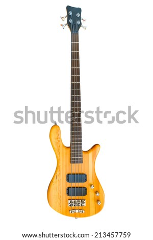 Electric Wood Bass Guitar isolated on white background. - stock photo