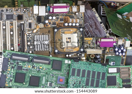 Electrical and electronic waste - stock photo