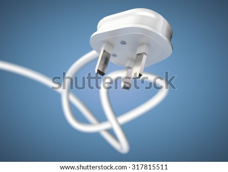 Electrical appliance plug attached to electricity cable. Strong depth of field. White plug and cable coiled isolated. Unplug an electrical appliance plug to save electricity.