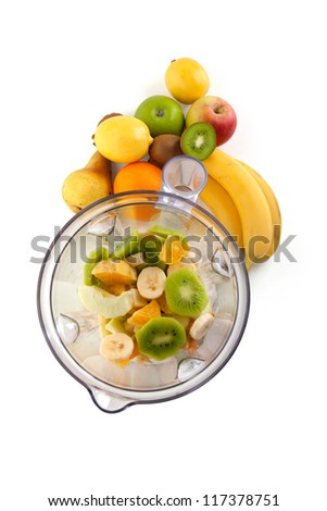 Electrical blender whit fruits, isolated on white background - stock photo