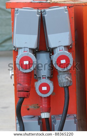 Electrical cabinet and connectors to provide construction sites with electrical energy. - stock photo