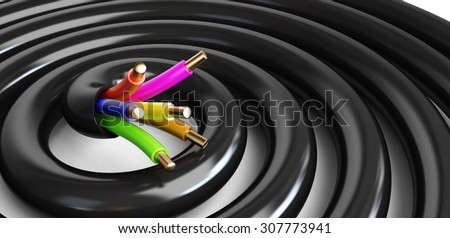 electrical cable. 3d Illustrations on a white background  - stock photo