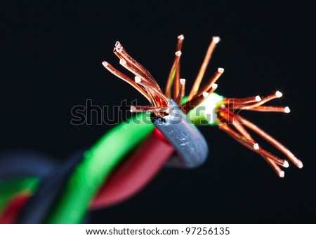 Electrical cable. Electricity and power background. - stock photo