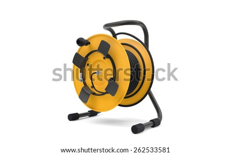Electrical cable extension reel isolated on white background - stock photo