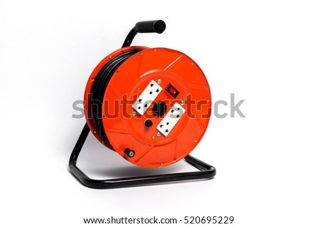 Electrical cable extension reel isolated on white background.Red Cable Reels.