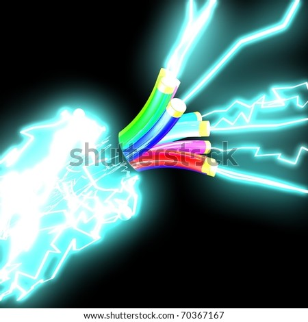 electrical cable from which the electrical discharges - stock photo