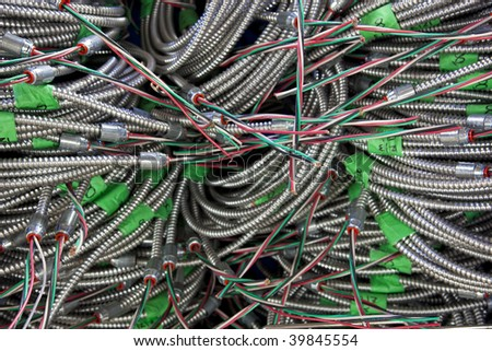 Electrical Cables in Flexible metallic tubing - stock photo