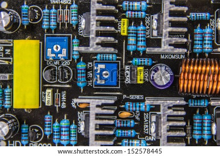 electrical circuit board amps on white background - stock photo