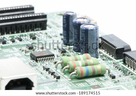 electrical circuit in the electric plate welded - stock photo