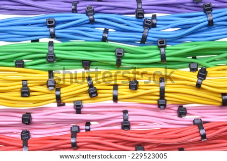 Electrical colors cables with cable ties - stock photo