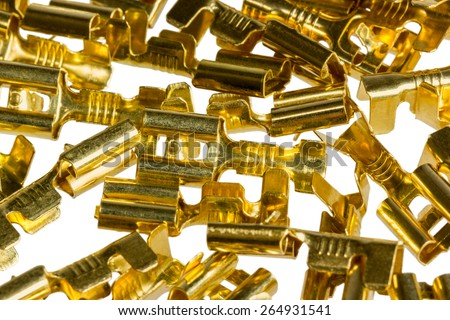 Electrical component bronze cable terminal connector isolated on a white background - stock photo