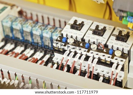 Electrical components, switches and wiring - stock photo