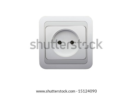 electrical connector on white - stock photo
