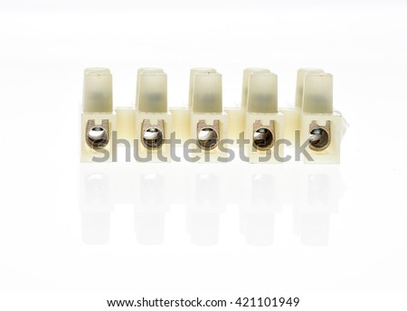 Electrical connector or terminal blocks clamps for electric cables and wires isolated on white background. Different connectors.