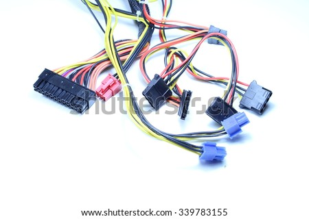 Electrical connectors with white background - stock photo