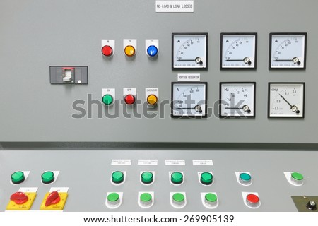 Electrical control panel in factory /  Control panel