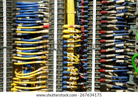 electrical control panel with static energy meters and circuit-breakers  - stock photo