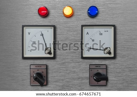 Electrical Control Panel Volt Amp Meter Stock Photo (Royalty Free ...
