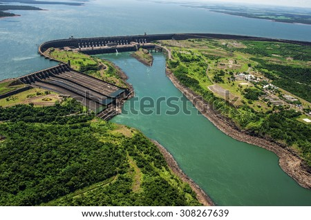 Electrical dam in South America. - stock photo
