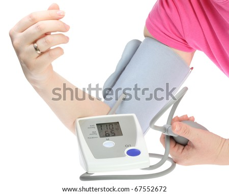 Electrical device for measuring pressure isolated on a white background - stock photo