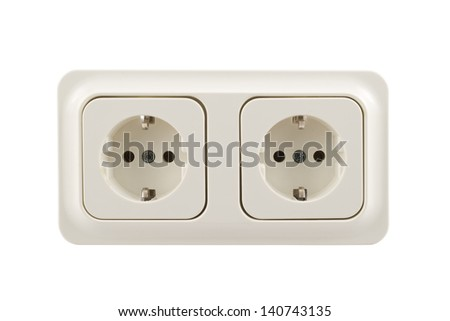 Electrical double jack white plastic socket isolated over white background, front view - stock photo