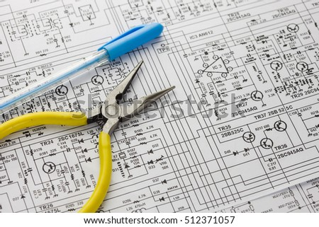 Electrical Drawing Tool Such Pliers Pen Stock Photo (Royalty Free ...