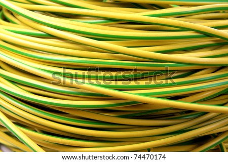 Electrical electric cable wires yellow and green earth cable
