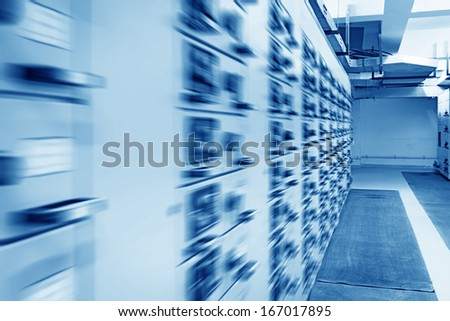Electrical energy distribution substation in a power plant. - stock photo