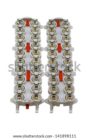 electrical equipment that protects   resulting from a lightning discharge  isolated on white - stock photo