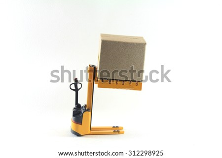 Electrical Forklift truck with boxes on pallet - stock photo