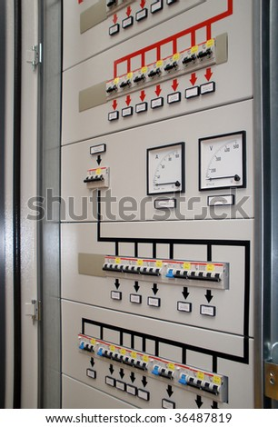 Electrical front  panel equipment - stock photo
