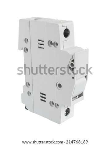 Electrical Fuse Holder Closed Position isolated on white background - stock photo