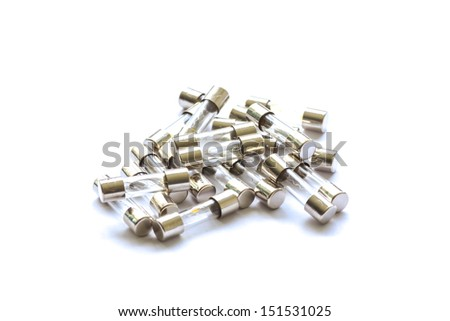 Electrical fuse isolated on white with clipping path - stock photo