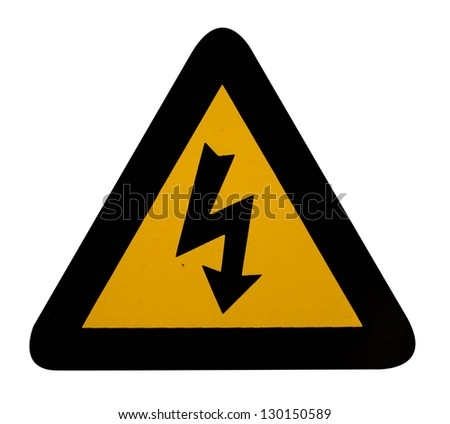 electrical hazard warning sign with clipping path - stock photo