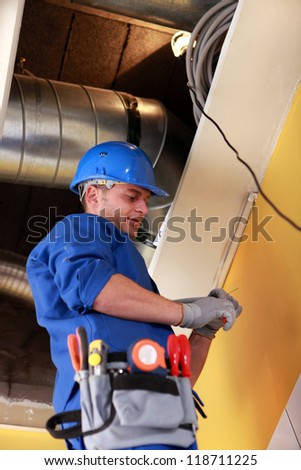 electrical, heating, engineer - stock photo