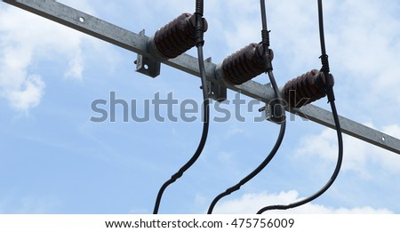 Electrical insulator on the electricity pole