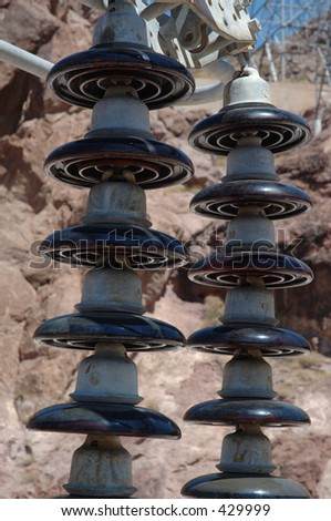 Electrical Insulators at Hoover Dam - stock photo