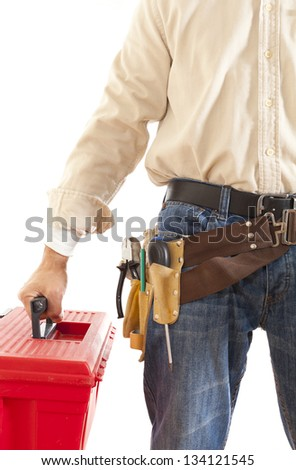 Electrical mechanic with toolbox and white background - stock photo