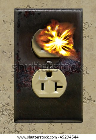 Electrical Outlet burning-Safety and In servicing - stock photo