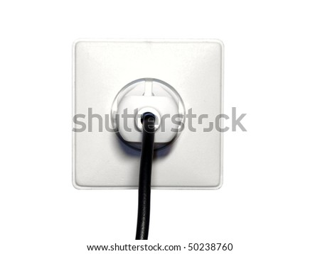 Electrical outlet with plug isolated on white background - stock photo