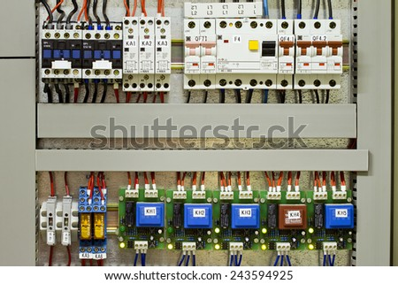 Electrical panel with fuses and contactors - stock photo