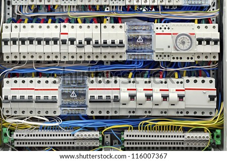 Electrical Panel Fuses Closeup Stock Photo (Royalty Free) 116007367 ...