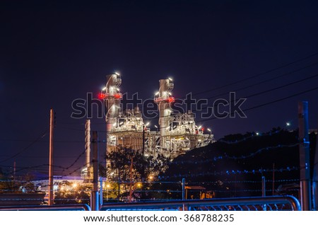 Electrical plant with night landscape in the industrial park. - stock photo