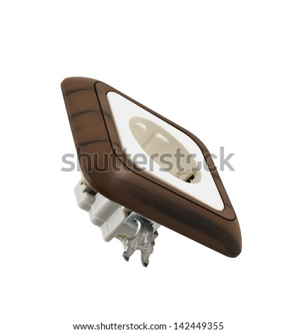 Electrical plastic socket with the wood-like coating isolated over white background - stock photo