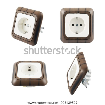 Electrical plastic socket with the wood-like coating isolated over white background, set of four foreshortenings - stock photo
