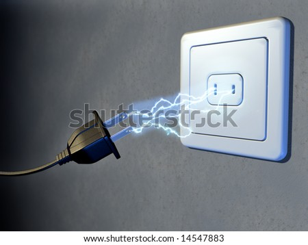 Electrical plug and outlet generating electricity sparks. Digital illustration. - stock photo