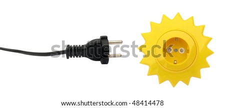 Electrical plug and socket sun shaped - stock photo