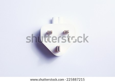 Electrical plug white color isolated on light grey background represent electrical plug equipment on European country usage.  - stock photo