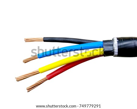 electrical power cable on isolated background