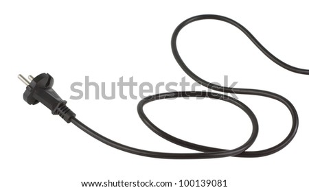 Electrical power cable with EU plug. Object is isolated on white background without shadows.